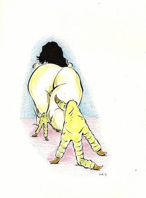 10-femme poule -Chrib-dessin original crayon